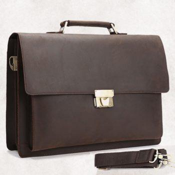 QARYYQ Mens Bag Business Briefcase Solid Color Vintage Shoulder Crossbody Bag 39x28x7cm Business Briefcase Brown